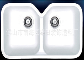 Name: Solid Surface Sink Type: JTM 5508. Size: 755×415×190mm. Body: Solid  Surface Color: White. Remart: Double Bowl